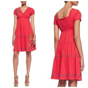 Johnny Was red flora embroidered tiered  dress S